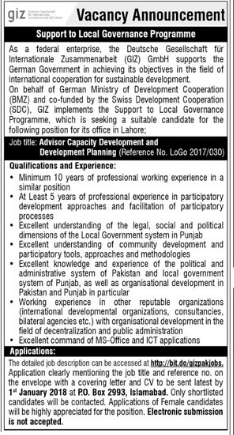 GIZ Pakistan required Adviser