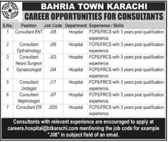 Bahria Town required Consultant & Medical Officer