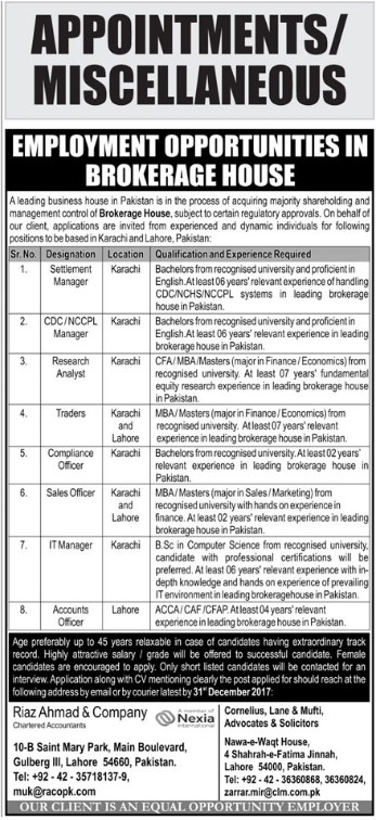Manager, Research Analyst, IT & Accounts Officer Jobs