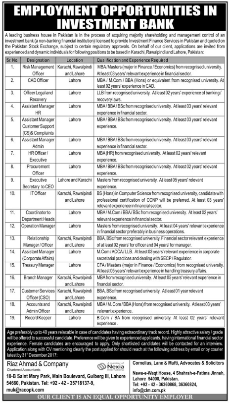 Management, IT & Accounts Officer Jobs in Lahore