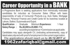 Consumer Sales Officer Jobs in Bank