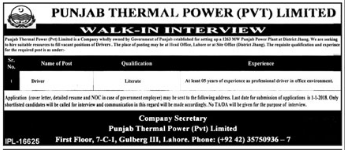 Punjab Thermal Power requried Driving Staff