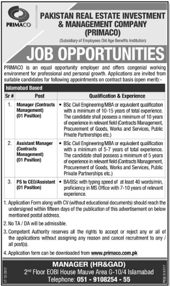 PRIMACO Pakistan Manager, Assistant Manager & Assistant Jobs