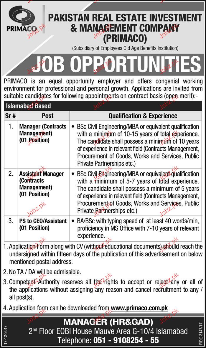 pakistan real estate investment  u0026 management co jobs 2019