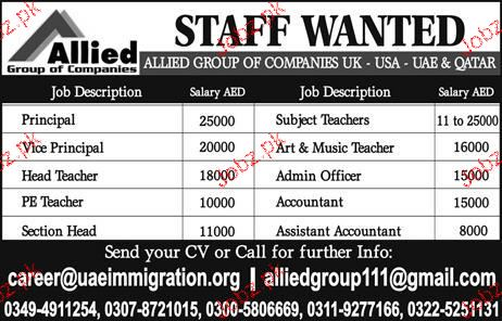 Principal, Vice Principal, Subject Teachers Job Opportunity