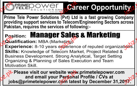Manager Sales and Marketing Job Opportunity