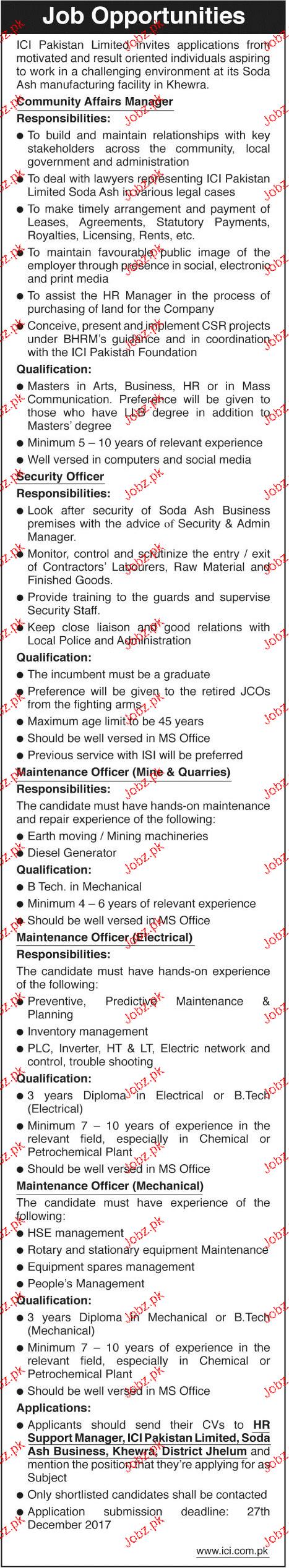 ICI Pakistan Limited Jobs