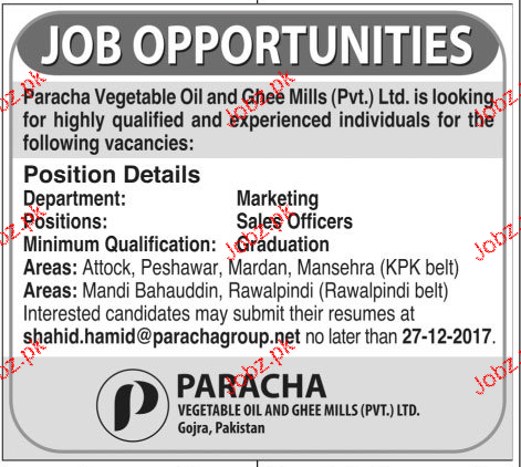 Paracha Vegetable Oil & Ghee Mills Pvt Limited Jobs