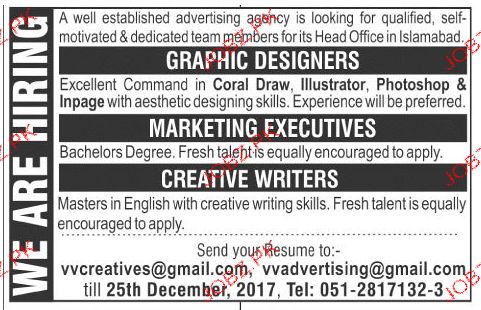 Graphic Designers, Marketing Executives Job Opportunity
