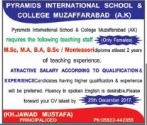 Female Teaching staff required at Muzaffarabad