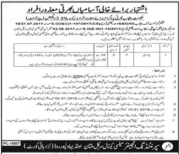Irrigation Department Disabled Persons Jobs at Bahawalpur