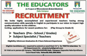 Teaching Staff required in Hyderabad