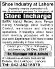 Store Incharge required in Lahore