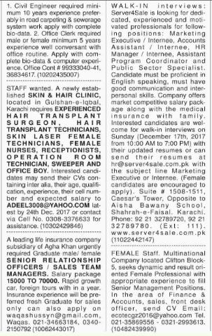 Office, Marketing & Technical Staff Jobs