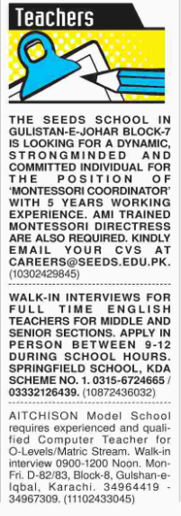 Teacher wanted at Karachi