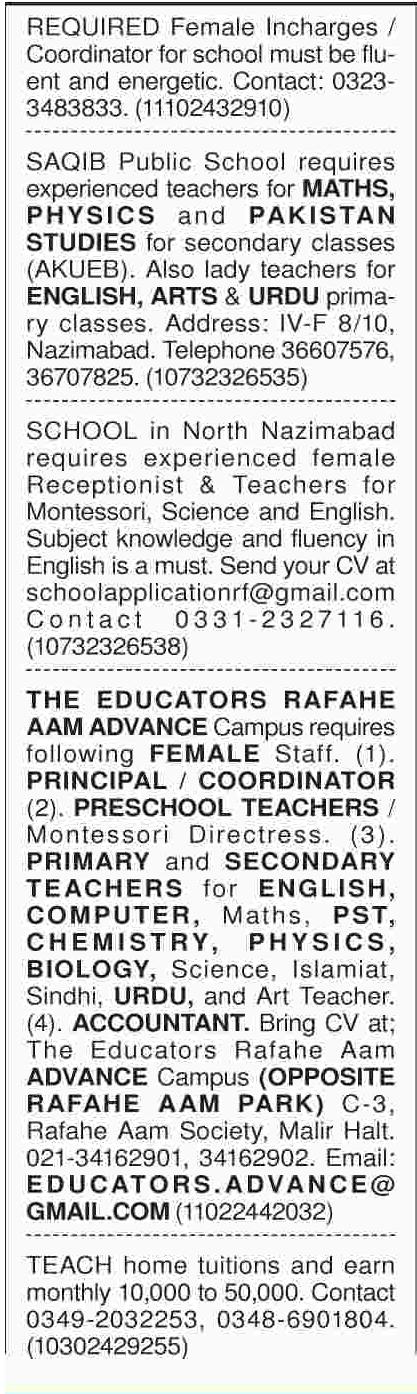 Male & Female Teaching Staff Jobs Open