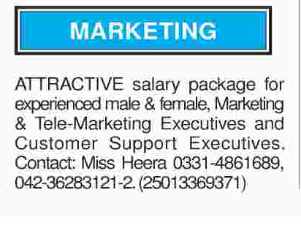 Male & Female Marketing Staff required