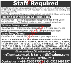 Imaging Technologists / CT Technicians Job Opportunity