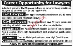Tax Lawyer and Civil Lawyers Job Opportunity