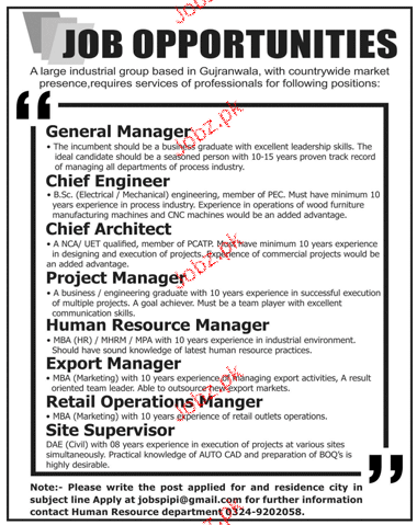 General Manager, Chief Engineers, Chief Architect Wanted
