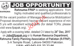 Rahnuma Family Planning Association Jobs