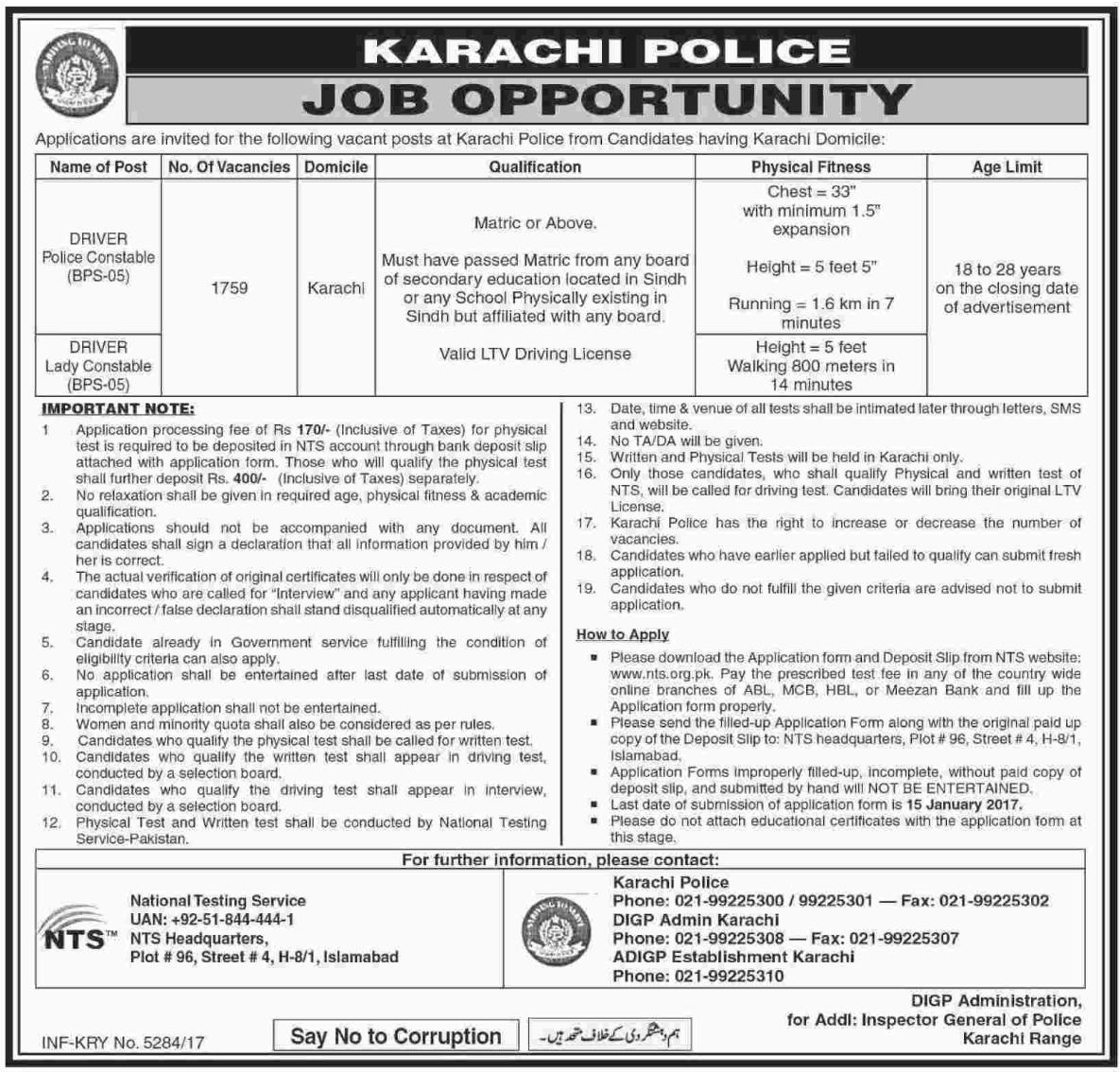 Karachi Police Required Drivers Via NTS