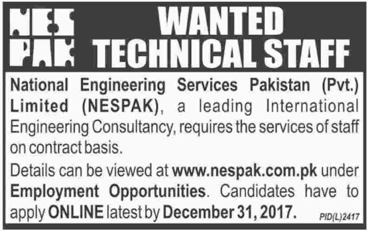 NESPAK National Engineering Services Pakistan Jobs