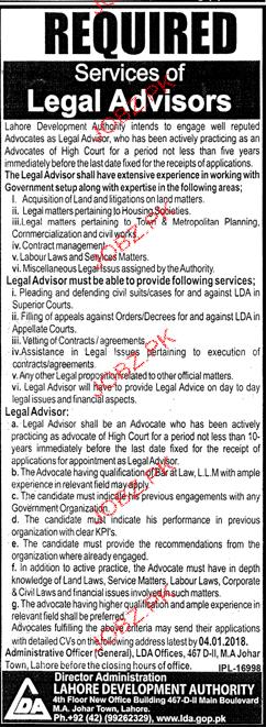 Lahore Development Authority LDA Jobs 2017
