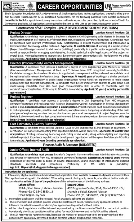 Sindh Education Foundation SEF required Director & Engineer