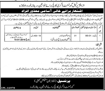 Government Degree College for Women Watchman Jobs