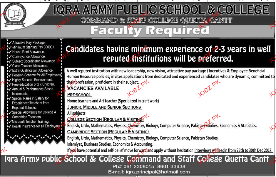 Iqra Army Public School and College Jobs
