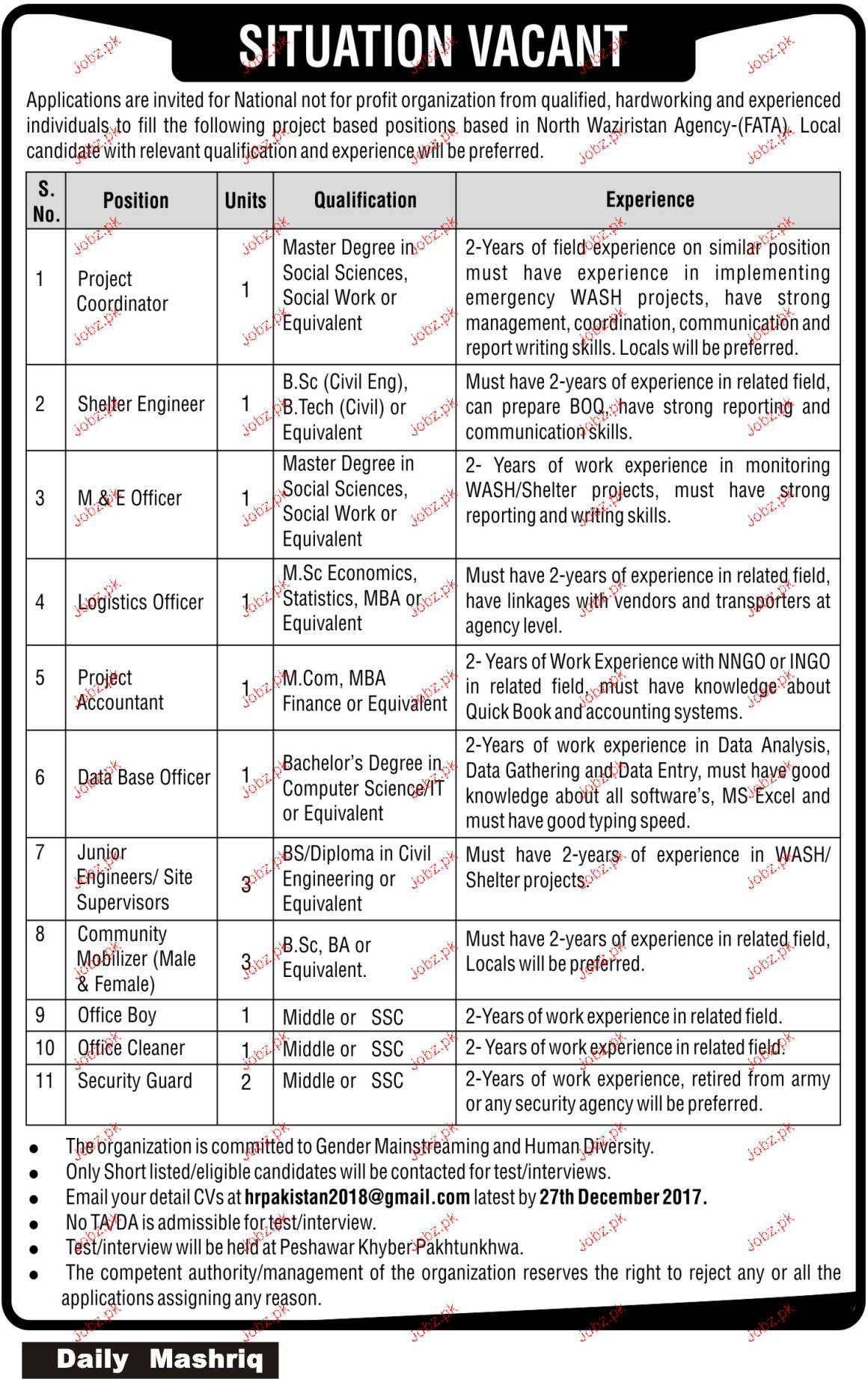 Shelter Engineers, M U0026 E Officers, Logistics Officers Jobs
