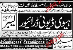 Labors and Heavy Duty Drivers Job Opportunity