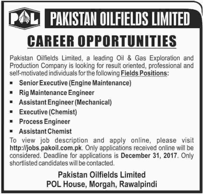 POL required Engineer & Chemist 2018 2018 Jobs Pakistan
