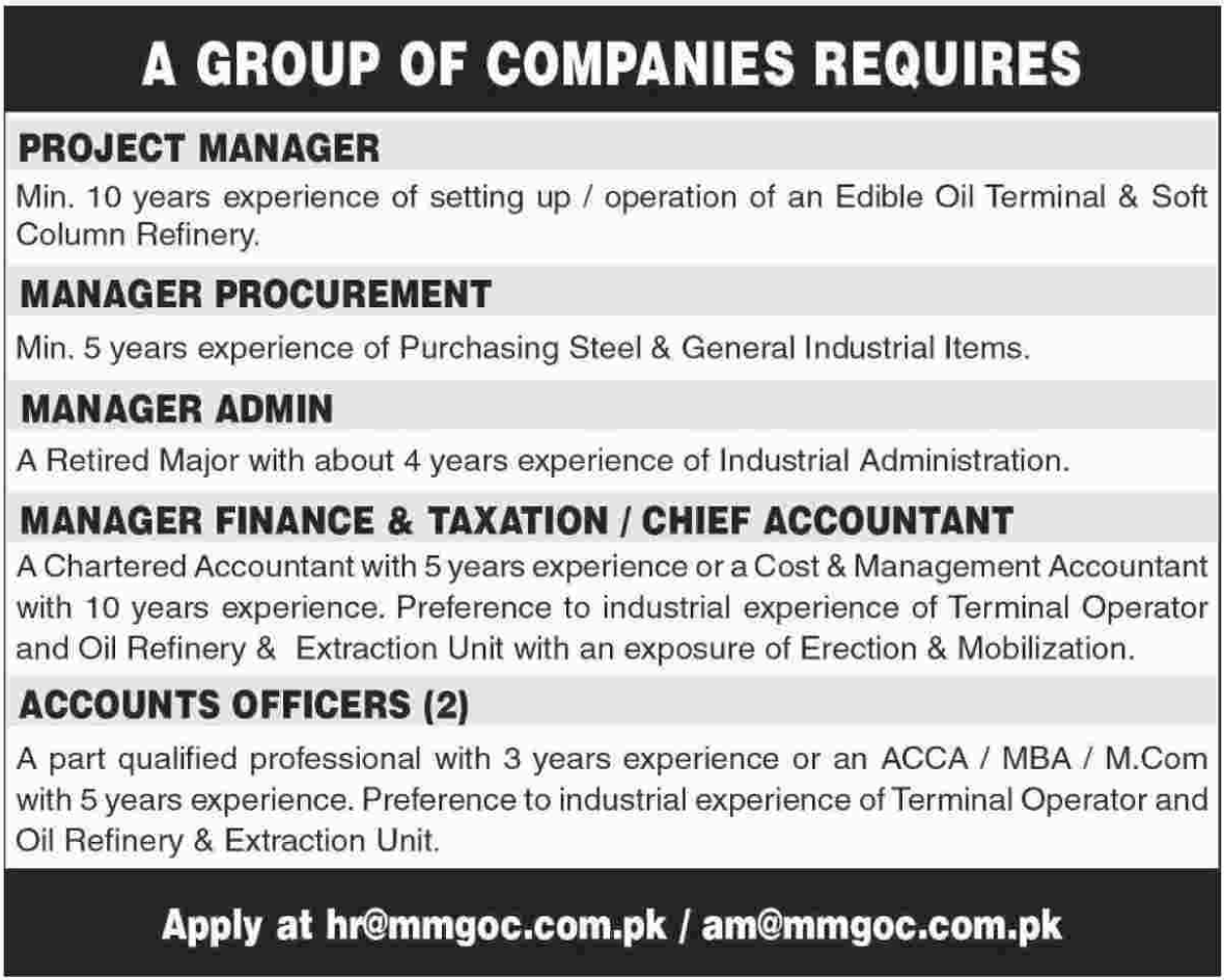 Project Manager & Accounts Officer wanted in Karachi