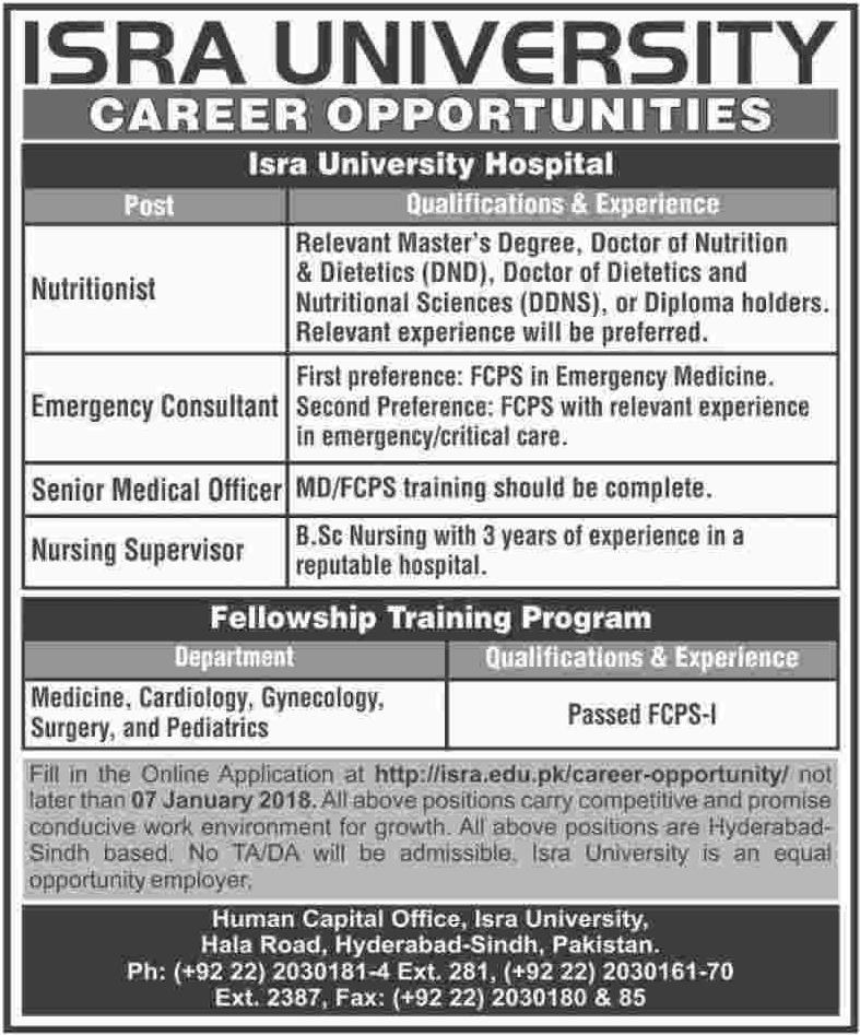ISRA University Consultant Jobs
