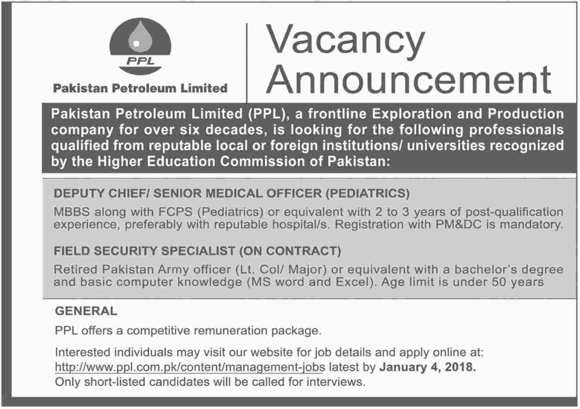 PPL Pakistan Medical Officer Jobs