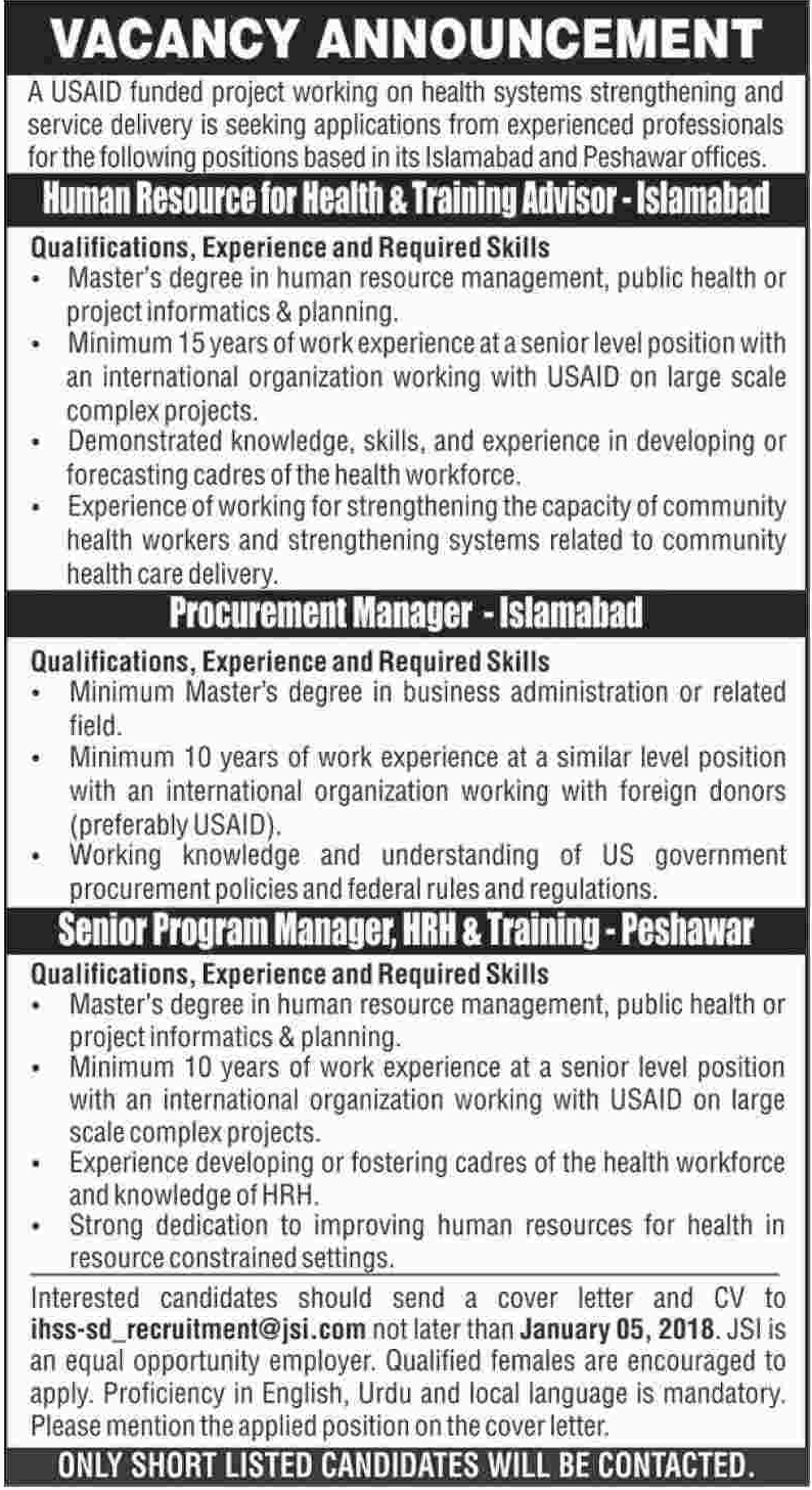 Manager required in USAID Funded Project