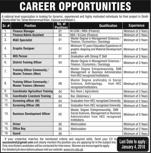 Manager, Assistant, M&E Specialist, Driver, Guard Jobs