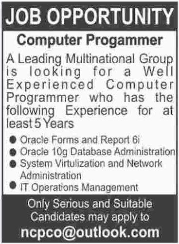 Computer Programmer required in Karachi