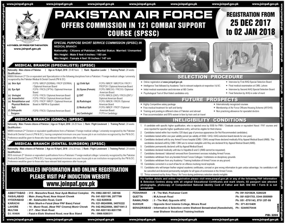 PAF Pakistan Air Force Officers Commission 121 Course