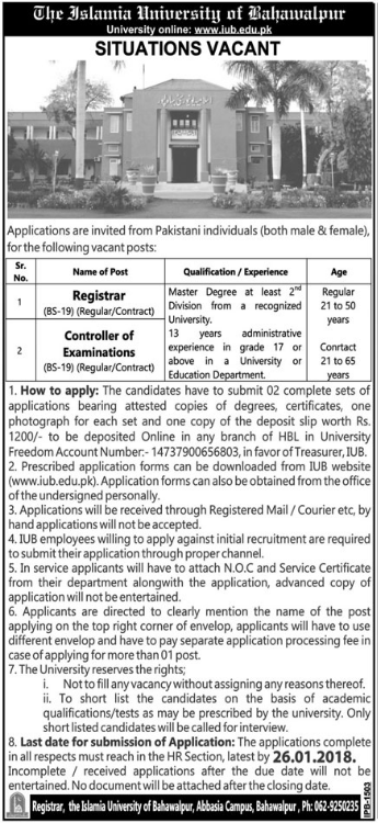IUB Bahawalpur required Registrar 2018