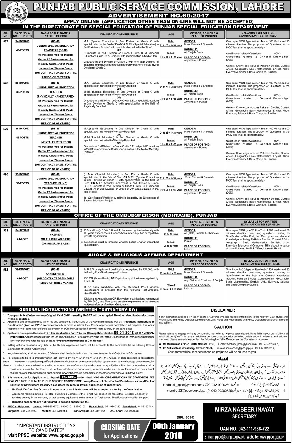 PPSC Jobs in Special Education Department