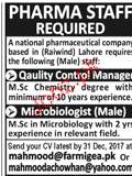 Quality Control Manager and Microbiologists Job Opportunity