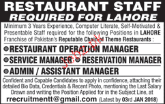 Restaurant Operation Manager Job Opportunity 2019 Job