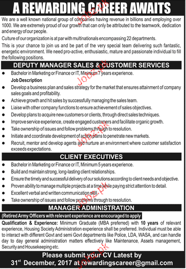 Deputy Manager Sales & Customer Service Job Opportunity