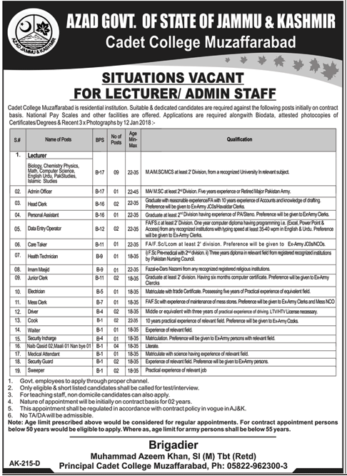 Lecturer & Admin Staff wanted in Cadet College 2018