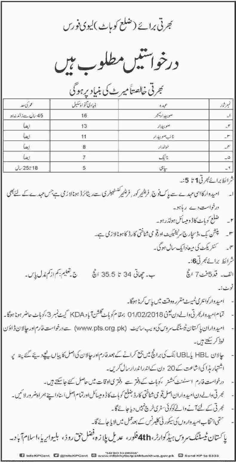 Levies Force Subedar Major & Subedar Jobs 2018