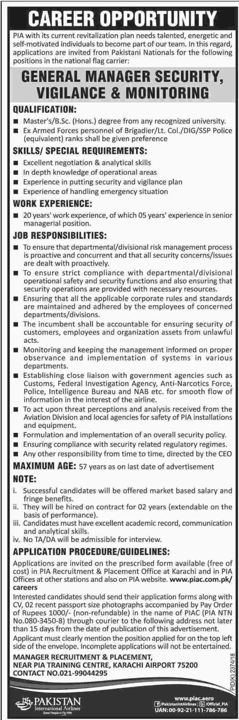 PIA Jobs General Manager Security 2018