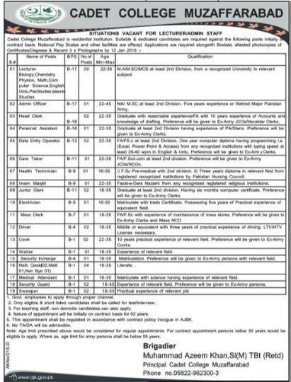 AJK Cadet College Lecturer & Admin Officer Jobs